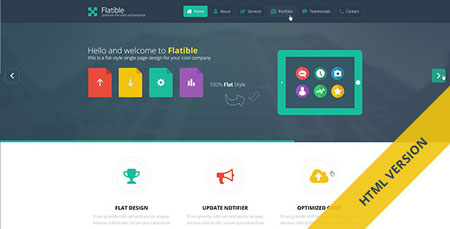 قالب تک صفحه Flatible به صورت HTML و CSS