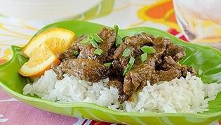 خوراک گوشت با سس پرتقال و برنج