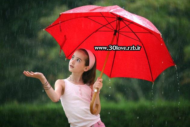 عکسهای احساسی دختر تنها زیر باران