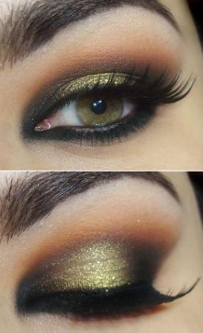 آرایش چشم با ترکیب زیتونی و مسی