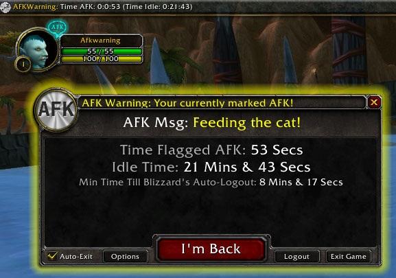 Addons AFK warning