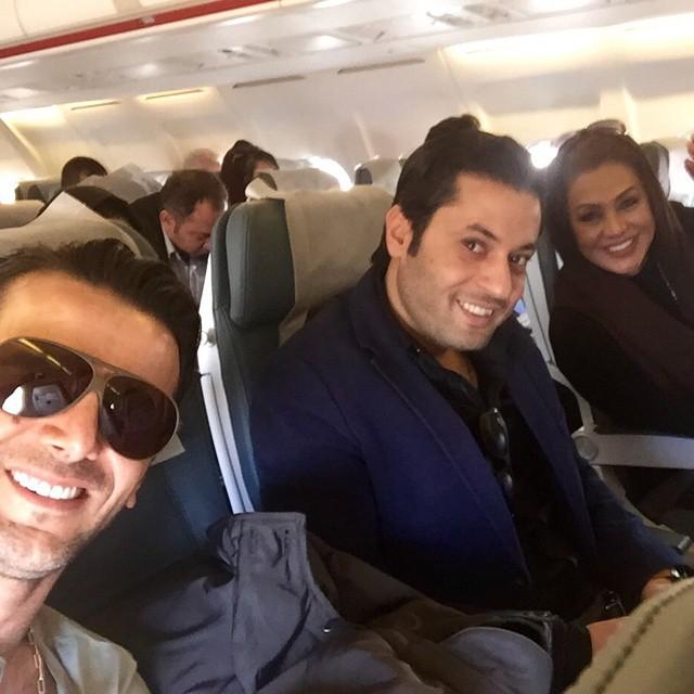 عکس سلفی امین حیایی و نسرین مقانلو در هواپیما