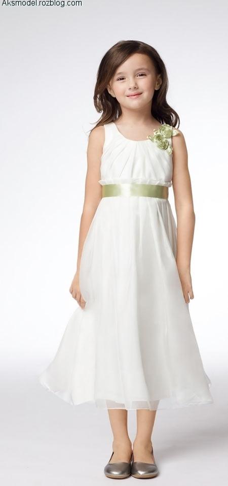 مدل لباس دخترانه خرد سال بچگانه سارافن بلند حریر سفید