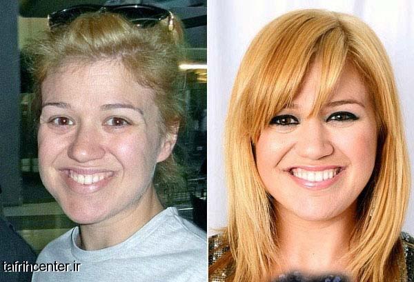 چهره زنان معروف هالیوودی با ارایش و بدون ارایش