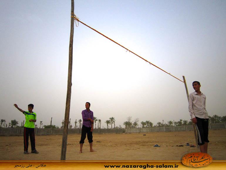 بازی والیبال جوانان نظرآقا در زمین خاکی - رضا رضایی