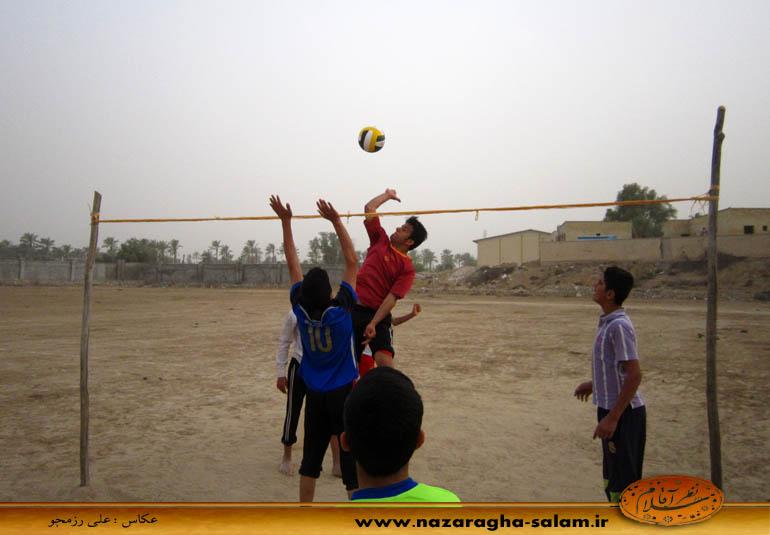 شیگرالله رزمجو -بازی والیبال جوانان نظرآقا در زمین خاکی