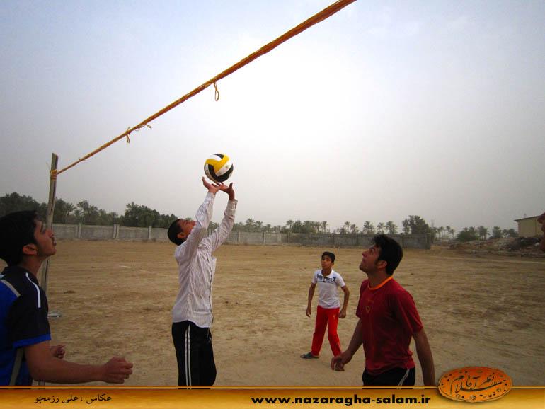 بازی والیبال جوانان نظرآقا در زمین خاکی - محمد شمس