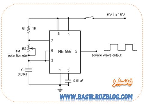 نوسان ساز بسیار ساده با فرکانس متغیر توسط آی سی 555 . . .