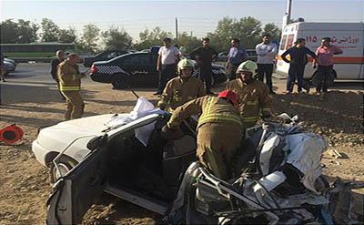 گزارش تصویری از یک تصادف مرگبار در بزرگراه تهران-قم