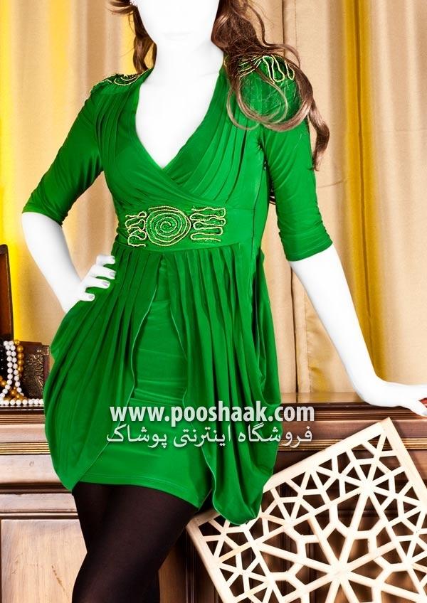 مدل تونیک مجلسی زنانه رنگ سبز روشن