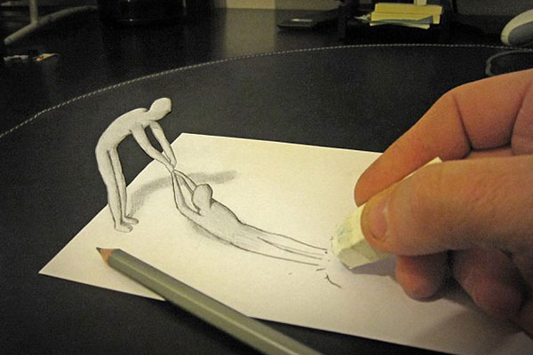 عکس های حیرت انگیز از یک نقاش که چشمتان را فریب می دهد