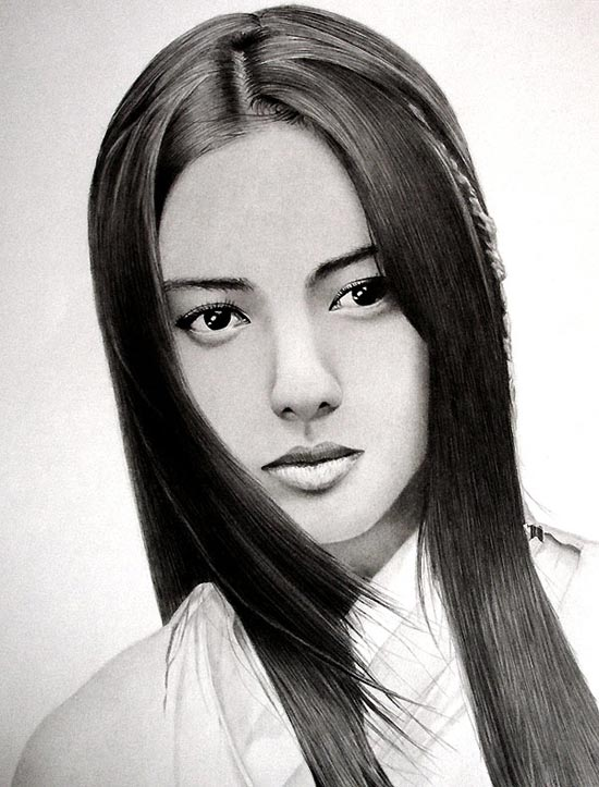 نقـاشی های سیـاه قـلم از چهـره های آسیایی