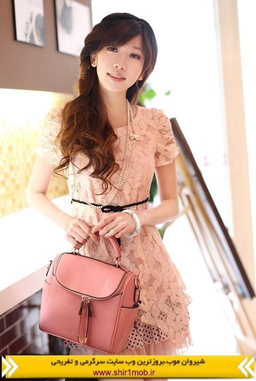 مدل لباس کوتاه دخترانه با توری و آستین دار پائیز ۹۲