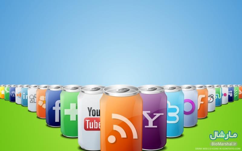 دانلود آیکون نوشابه ای شکل شبکه های اجتماعی