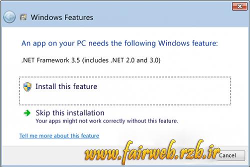 آموزش فعال کردن NET Framework 3.5. در ویندوز ۸