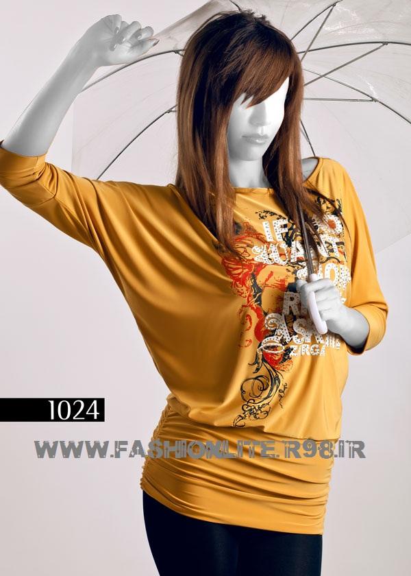 پیراهن بلند یقه حریر مدل های زیبای تی شرت و تاپ دخترانه