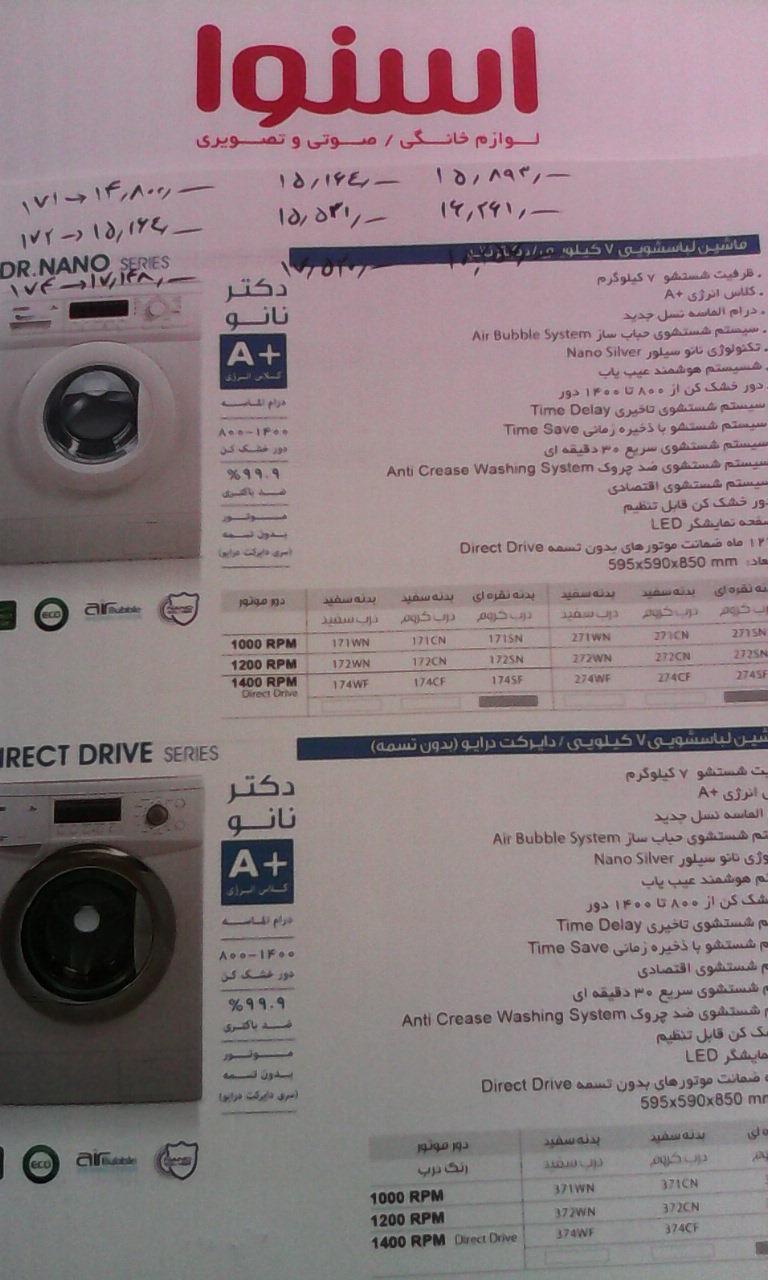 قیمت ماشین لباسشویی اسنوا