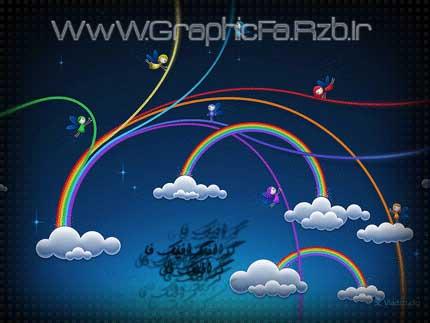 آموزش فتوشاپ - طراحی والپیپر زیبا با موضوع رنگین کمان و فرشته -GraphicFa.Rzb.Ir