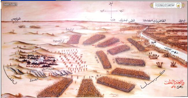 باز آفرینی آرایش نیروهای ایرانی و عرب در اطراف کربلا