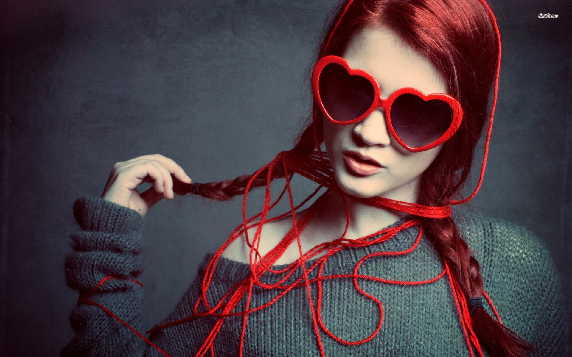 Girl Red Love Heart Sunglasses Wide Wallpapers