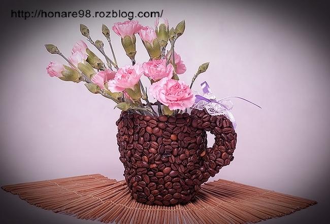 آموزش تصویری تزیین گلدان با دانه های قهوه