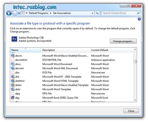 تنظیم برنامه های پیشفرض ویندوز 7 برای تمام پسوند ها