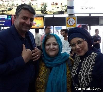 بهنوش بختیاری و مادرش در فرودگاه