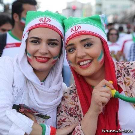 عکس نرگس محمدی و لیندا کیانی حمایت از تیم ملی