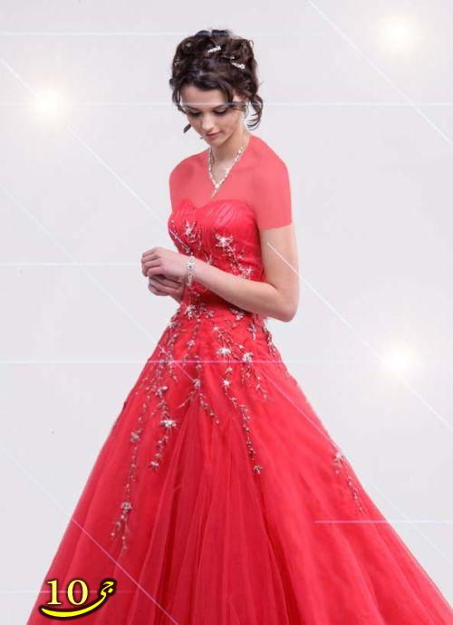 مدل لباس عروس قرمز