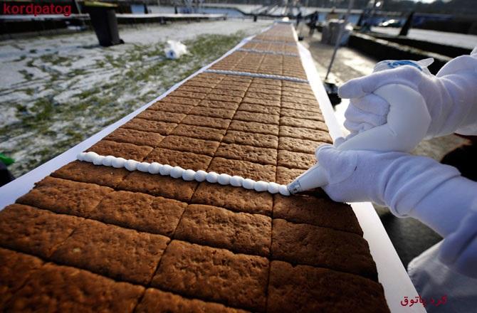 بزرگترین کیک عسلی گردویی وخامه ای دنیا