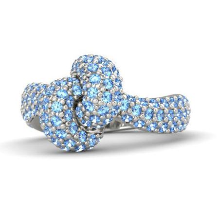 مدل انگشتر توپاز آبی