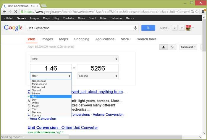 تبدیل واحدها به وسیله موتور جستجوی گوگل