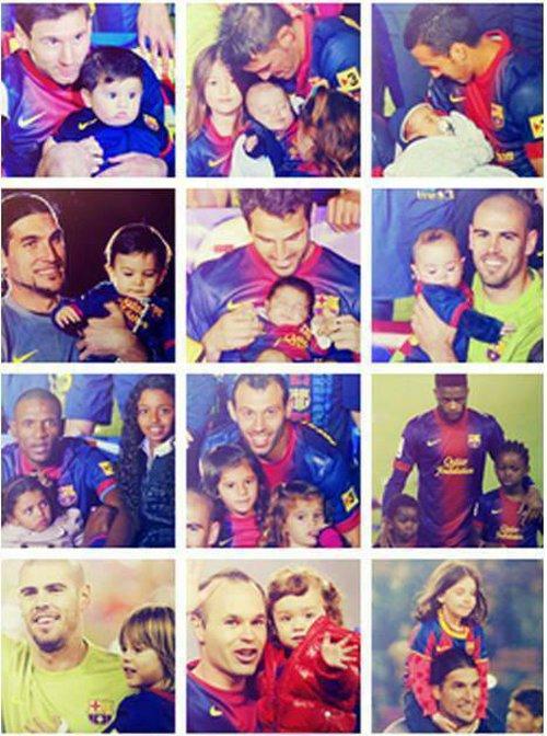 بازیکنان بارسا و فرزندانشان