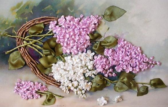 آموزش ساخت گل روبانی (یاس بنفش )