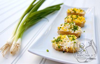 آموزش درست کردن کاناپه تخم مرغ و پنیر