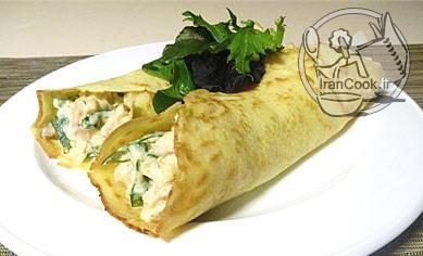 آموزش درست کردن کرپ مرغ و پنیر و سبزیجات