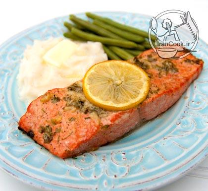 آموزش درست کردن کباب ماهی سالمون و سس جعفری