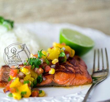 آموزش درست کردن ماهی سالمون و سس سالسا
