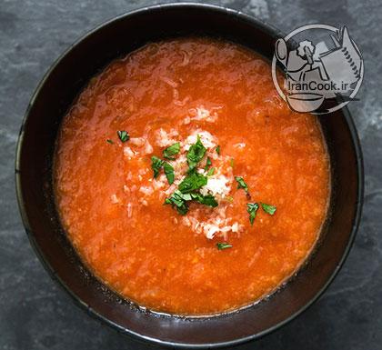 آموزش درست کردن سوپ گوجه فرنگی و نان تست