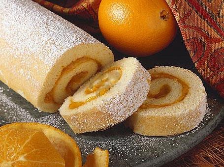 شیرینی رولت زردآلو و پرتقال