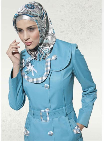 مدل مانتو آبی ژورنال لباس