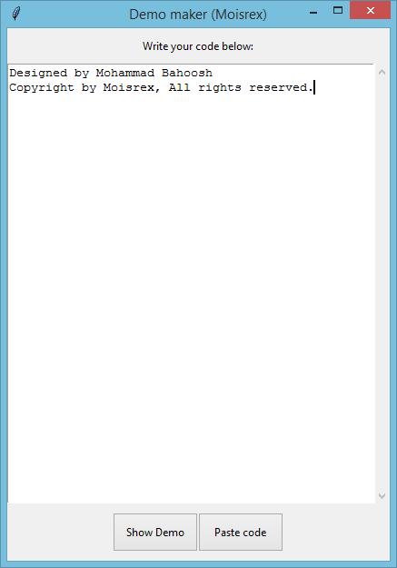 برنامه نمایش دمو کدهای HTML با استفاده از زبان python