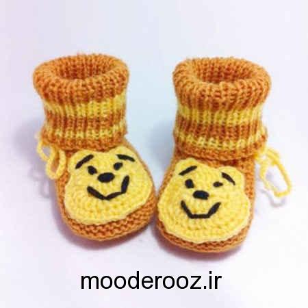 مدل کفش ها و جوراب های بافتنی بچه گانه 2014