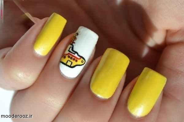 زیباترین مدل آرایش ناخن دست زرد رنگ ۲۰۱۴