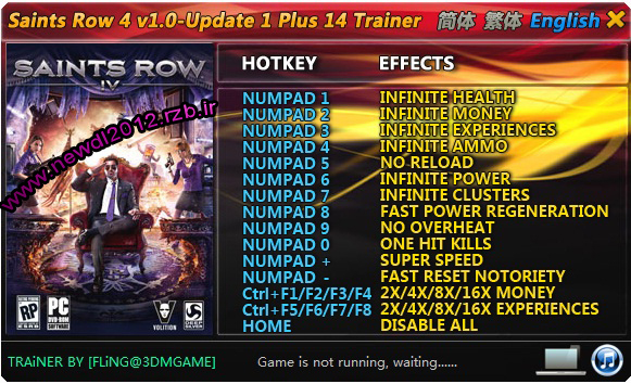 دانلود ترینر بازی Saints Row 4 نسخه FLiNG