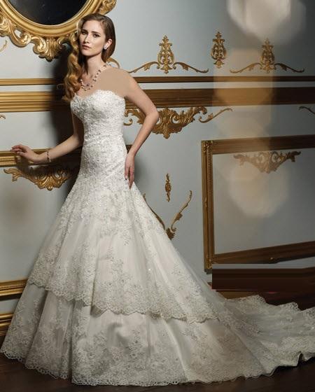 مدل های جدید لباس عروس دانتل دار 2015