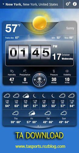 محبوب ترین نرم افزار هواشناسی ( آندروید )