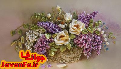 روبان دوزی گل