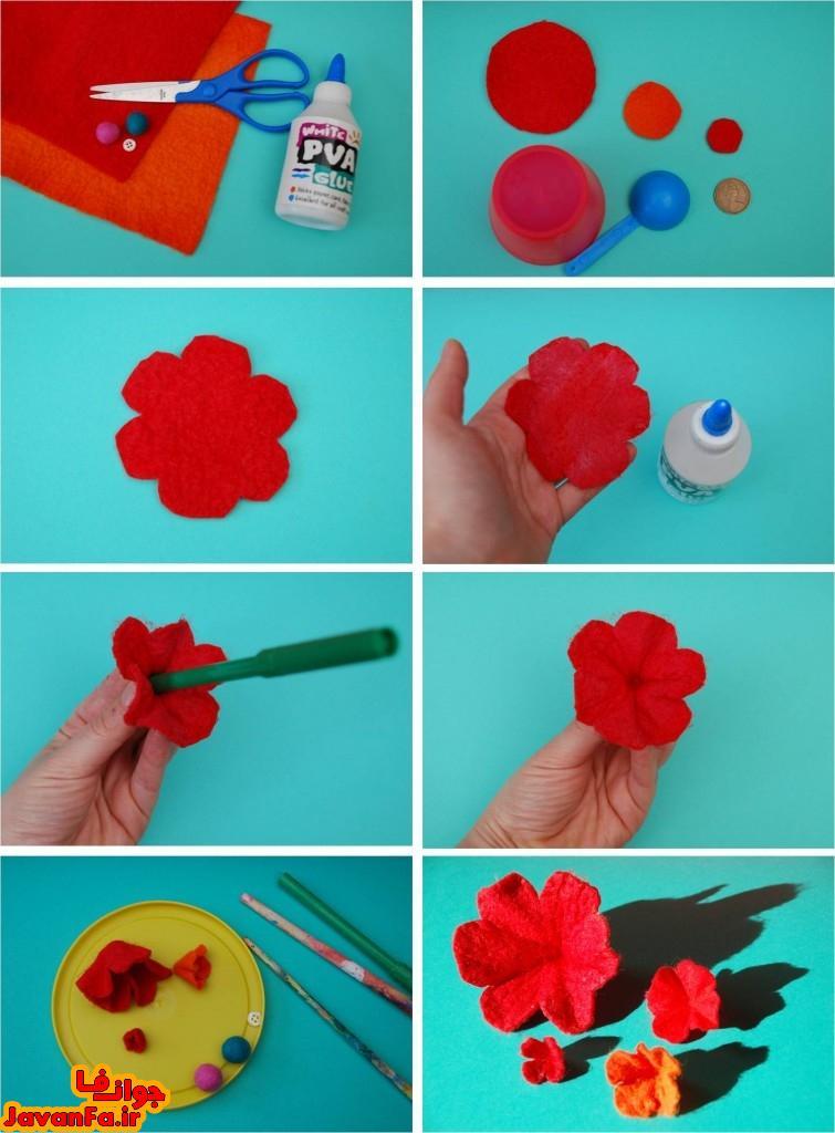 آموزش ساخت گل پارچه ای قرمز