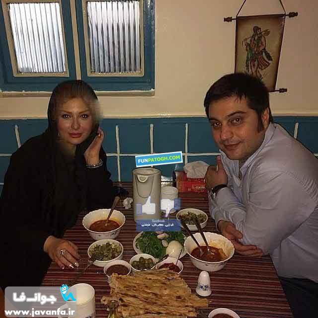 عکس نیوشا ضیغمی و همسرش در حال دیزی خوردن